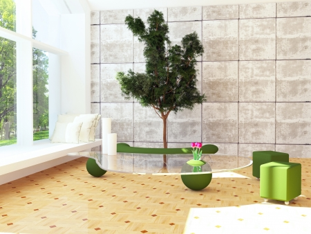 Modern interior design scene with a tree inside, 3d render  Stock Photo