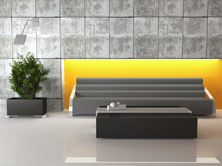 Design scene of ultra modern lounge room, 3d render with my own models  Stock Photo - 13636977