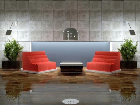 Design scene of modern lounge room, 3d render Stock Photo - 13636980