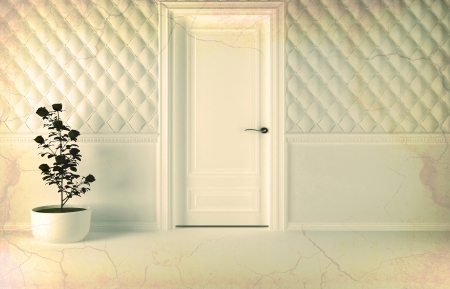 Classic interior design scene with a door and a plant, effect of aged, 3d render  Stock Photo