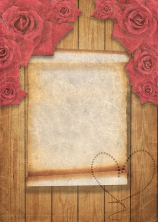Aged vintage wedding (holiday) background with red roses, invitation card with place for your text. photo