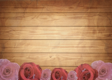 Aged vintage wedding (holiday) background with red roses, place for your text. photo