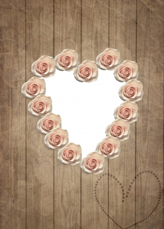 Vintage wedding frame in shape of heart with roses, wooden card with place for your photo. photo
