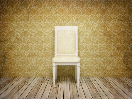 Classic antique interior with chair, old style, 3d render (my own 3d model) photo
