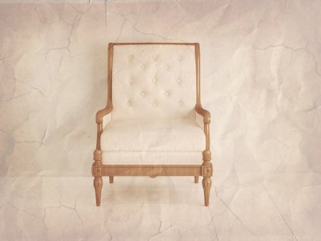 Classic antique chair, old paper style, 3d render. photo