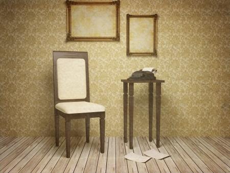 의자, 테이블, 프레임, 타자기, 이전 스타일의 고전적인 앤티크 인테리어, 3D 렌더링합니다.