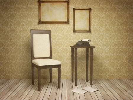 Classic antique interior with a chair, table, frames and typewriter, old style, 3d render.