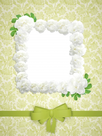 Vintage Wedding Frame With Roses On The Floral Green Wallpaper ...