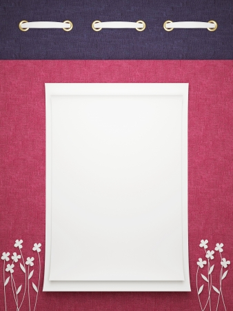 Card for greeting or congratulation on the red floral background. Insert your text. photo
