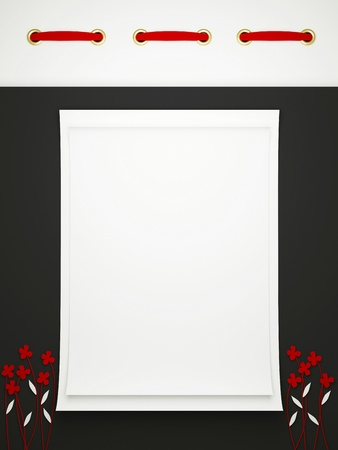 Card for greeting or congratulation on the black floral background. Insert your text.