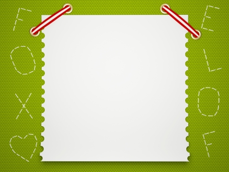 Notebook paper background. Funny green childrens framework. photo