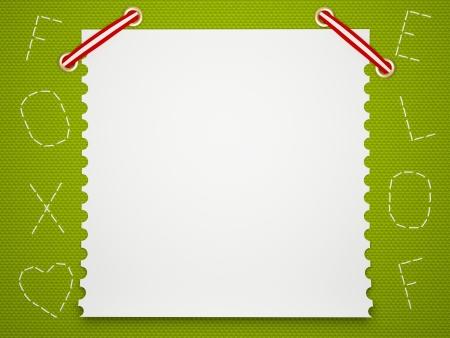 Notebook paper background. Funny green childrens framework. photo