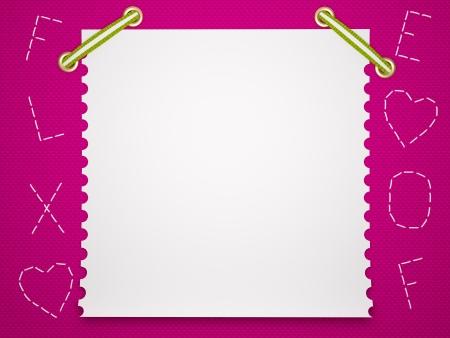 Notebook paper background. Funny pink childrens framework. photo
