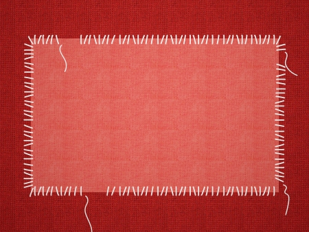 stitching: Red framework for a photo or invitations. A beautiful textile background. Stock Photo