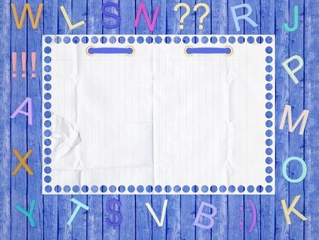 Notebook tattered paper background. Funny childrens framework. photo