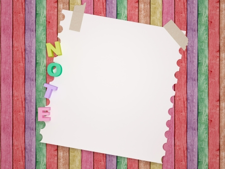 wooden insert: Notebook  paper background. Funny childrens framework.