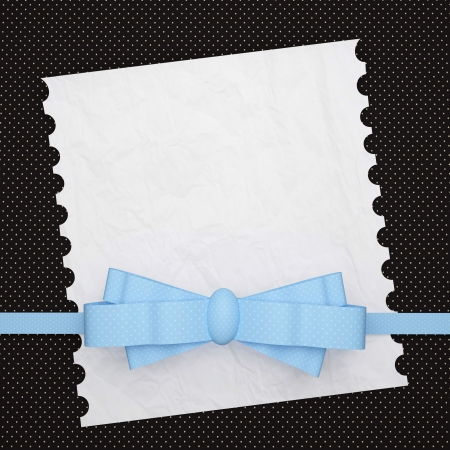 wedding photo frame: Vintage wedding (holiday) paper background with ribbon and a bow, white invitation card for insert your text (design). Stock Photo
