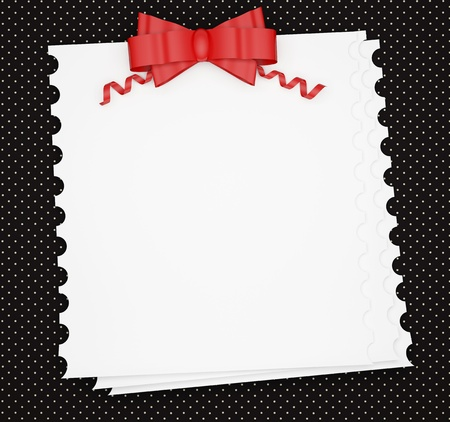 Vintage wedding (holiday) paper background with red bow, white invitation card for insert your text (design). photo