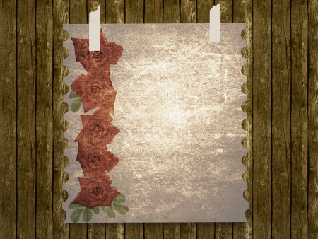 rose frame: Aged vintage wedding (holiday) background with red roses, invitation card with place for your text. Stock Photo