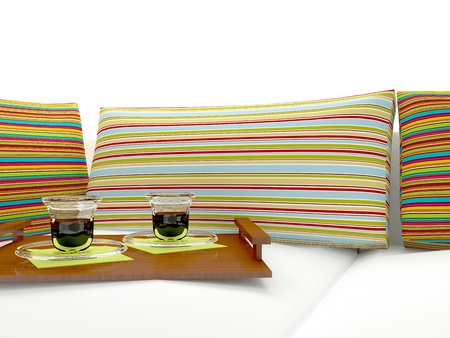 nice accommodations: Colorful pillows and coffee, home interior.