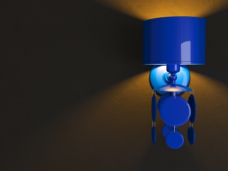 Modern blue wall lamp on black background. photo