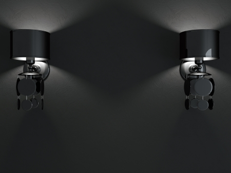 Modern black wall lamps on black background. Dark interior composition. photo