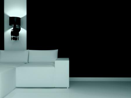 Design de interiores de moderna sala de estar escura com sofá branco, 3d render. Imagens