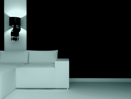Interior design of modern dark living room with white sofa, 3d render.