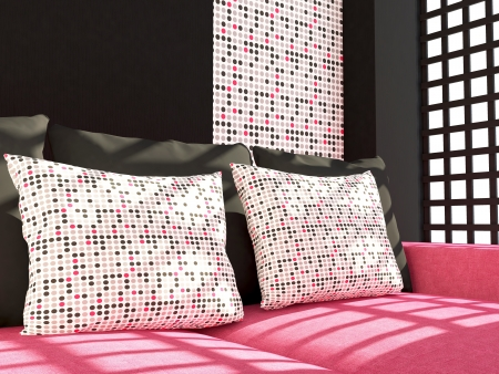 Detail shot of modern living room furniture. Interior design. Pink living room couch with pillows. Stock Photo - 14017067