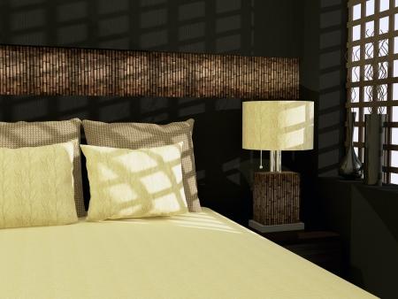 Projeto interior do quarto moderno.