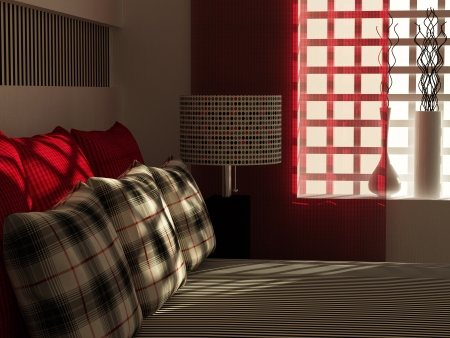 double rooms: Modern bedroom interior design. Stock Photo