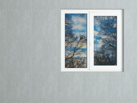 Parede cinza e branco janela refletindo a natureza. Casa exterior. Imagens