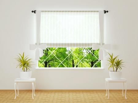 Janela em um quarto branco brilhante com plantas. Imagens