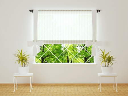 Window in a bright white room with plants. Stock Photo