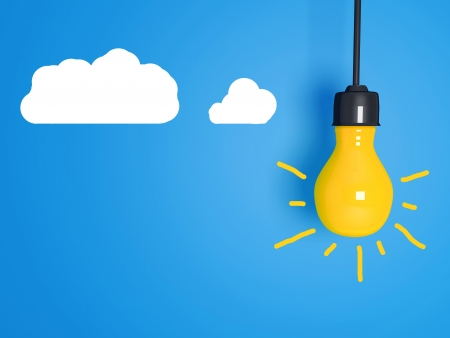 Yellow light bulb on blue background with clouds.