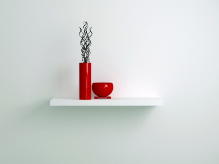 Detail shot of shelf with red vases. Interior design. photo
