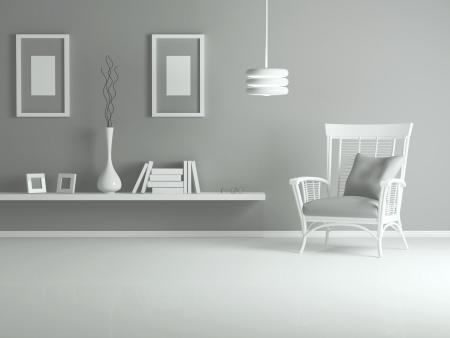 mensole: interior design moderno salotto, soggiorno con poltrona bianca e libri, render 3d
