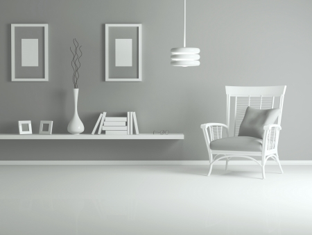 interior design of modern living room, lounge with white armchair and books, 3d render photo