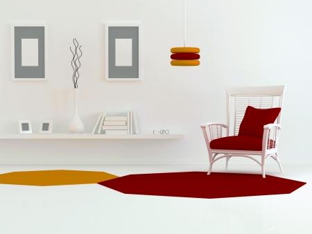 design de interiores de moderna sala de estar, sala com sofá branco e livros, 3d render