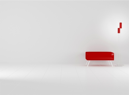 Red sofa in the empty black and red room, 3D renderillustration Stock Photo