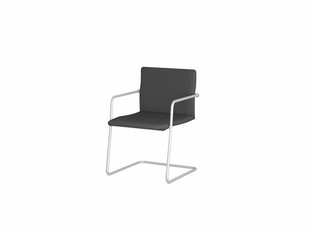 Office black armchair isolated on white, 3D renderillustration illustration