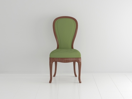 Classical wooden green chair in an empty white room, 3d illustration illustration