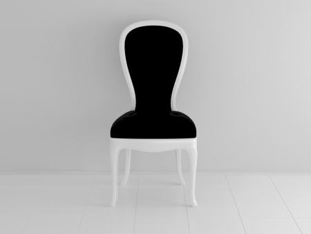 Classical wooden black chair in an empty white room, 3d illustration illustration