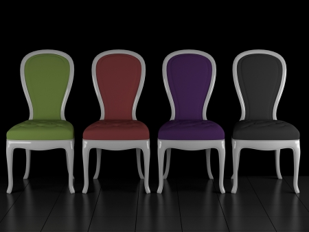 Four classic chairs in the dark room, 3D renderillustration illustration