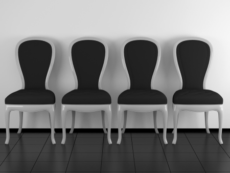 Four classic black and white chairs in the room, black floor and white wall, 3D renderillustration illustration