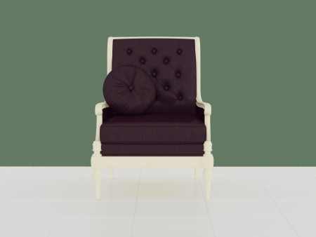 Classic violet armchair in the midle of the room, 3d renderillustration illustration