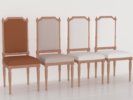 Four classic brown armchairs in the midle of the room, 3d renderillustration illustration