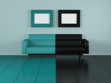 Green sofa indoor, nice composition, 3d illustrations