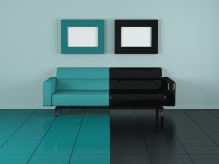 divano: Verde divano coperta, composizione piacevole, illustrazioni 3d Archivio Fotografico