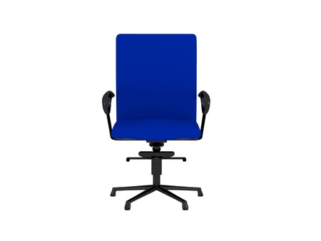 Blue office armchair isolated on the white background, 3D illustrationrender illustration